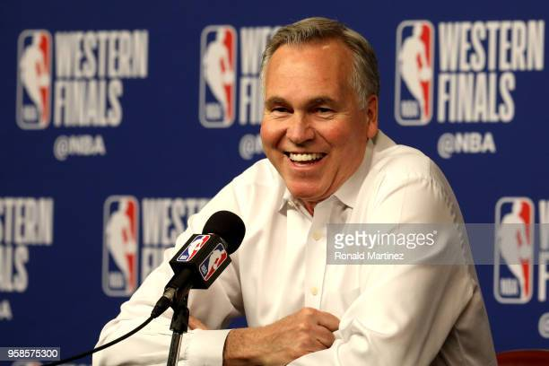 Mike D'Antoni of the Houston Rockets speaks to the media prior to Game One of the Western Conference Finals against the Golden State Warriors of the...