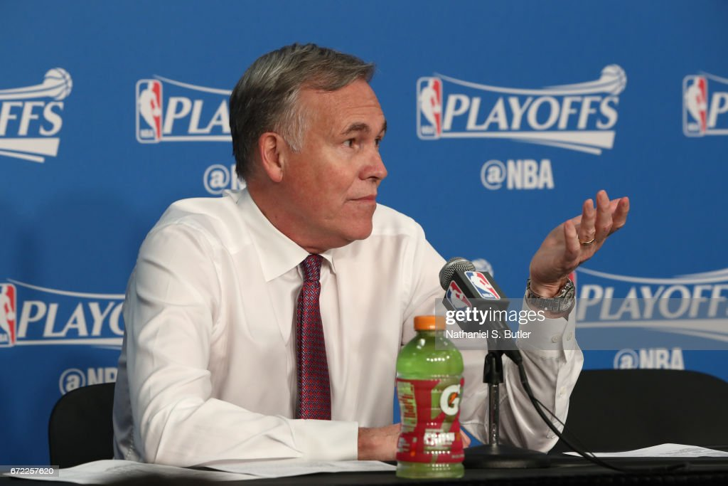 Mike D'Antoni of the Houston Rockets talks to the media during a press conference after Game Three of the Western Conference Quarterfinals against the Oklahoma City Thunder during the 2017 NBA Playoffs on April 21, 2017 at Chesapeake Energy Arena in Oklahoma City, Oklahoma.