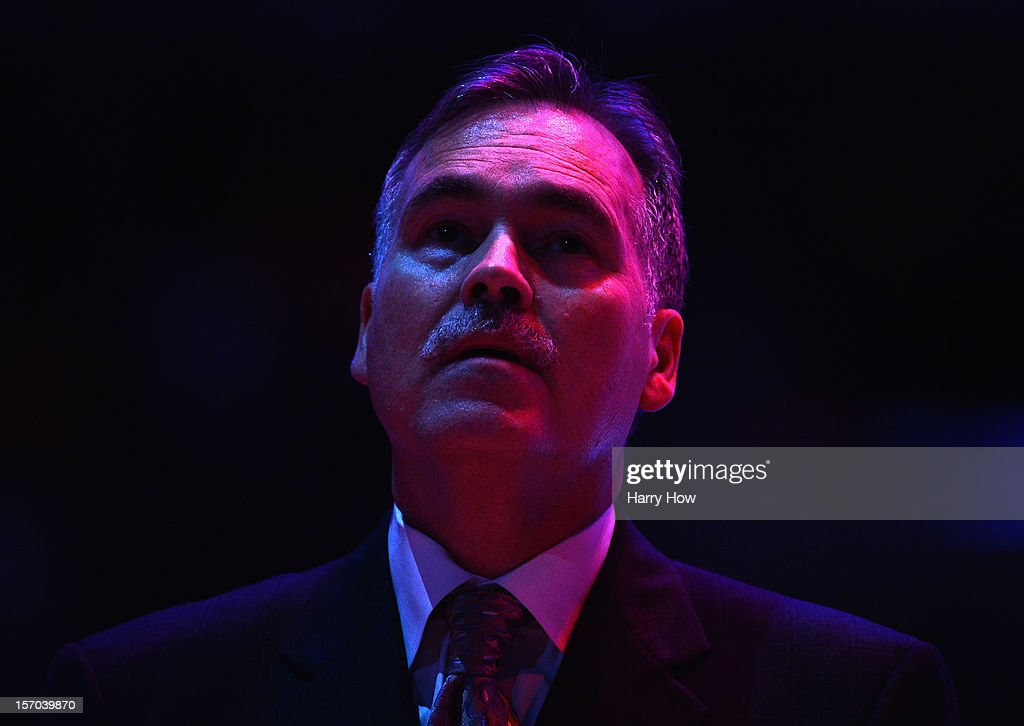 Mike D'Antoni of the Los Angeles Lakers before the game against the Indiana Pacers at Staples Center on November 27, 2012 in Los Angeles, California.