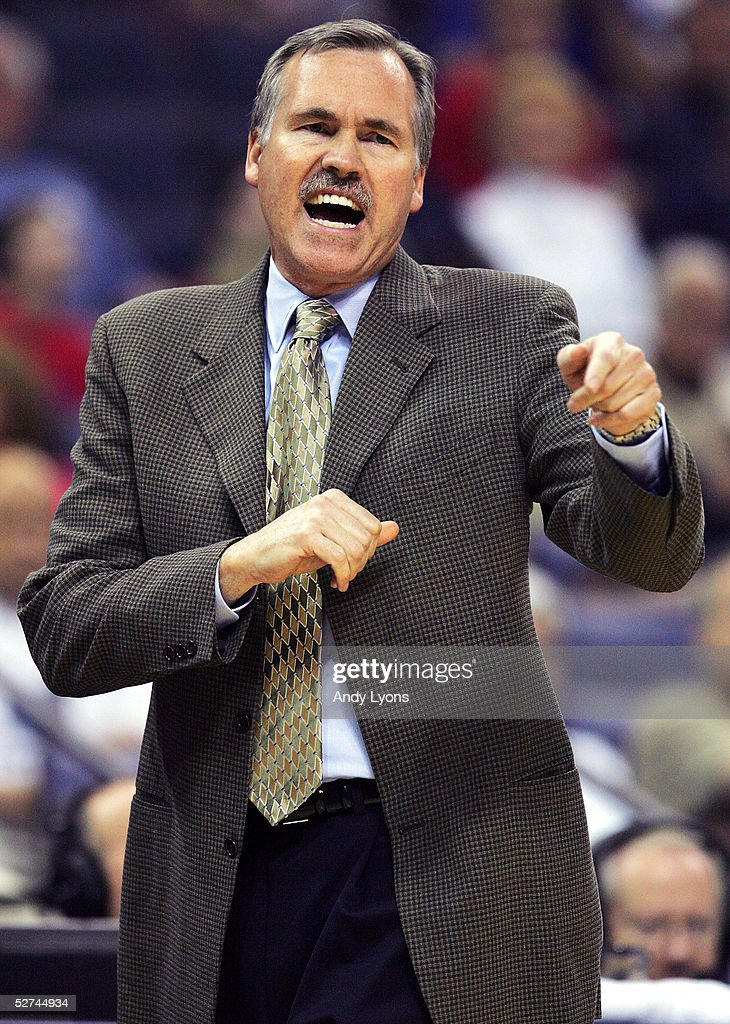 Mike D'Antoni the Head Coach of the Phoenix Suns gives instructions to his team during the game against the Memphis Grizzlies, Game four of the Western Conference Quarterfinals during the 2005 NBA Playoffs at the FedExForum on May 1, 2005 in Memphis, Tennessee.