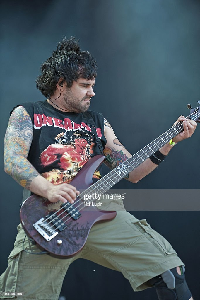 Mike D'Antonio of Killswitch Engage performs on stage on the first day of the Download Festival at Donington Park on June 11, 2010 in Derby, England.