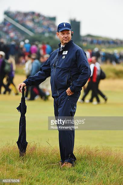 Mike Davis, Executive Director of the USGA, looks on during the third round of The 143rd Open Championship at Royal Liverpool on July 19, 2014 in...