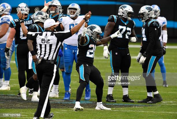 Mike Davis of the Carolina Panthers reacts after an offsides penalty on the Detroit Lions during the second half at Bank of America Stadium on...