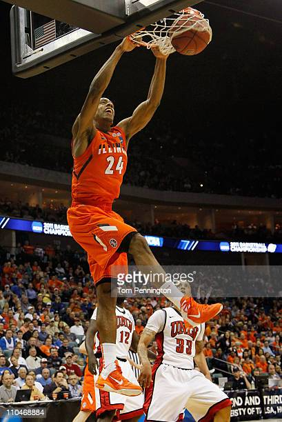 Mike Davis of the Illinois Fighting Illini dunks the ball against the UNLV Rebels during the second round of the 2011 NCAA men's basketball...