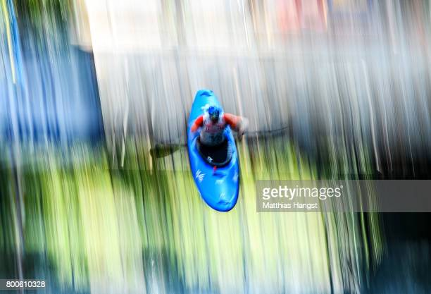 Mike Dawson of New Zealand jumps of the startramp during the Boater Cross Time Trials of the ICF Canoe Slalom World Cup on June 24 2017 in Augsburg...