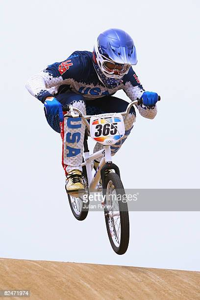 Mike Day of the United States competes in the Men's Seeding phase of the BMX competition at the Laoshan Bicycle Moto Cross Venue during Day 12 of the...