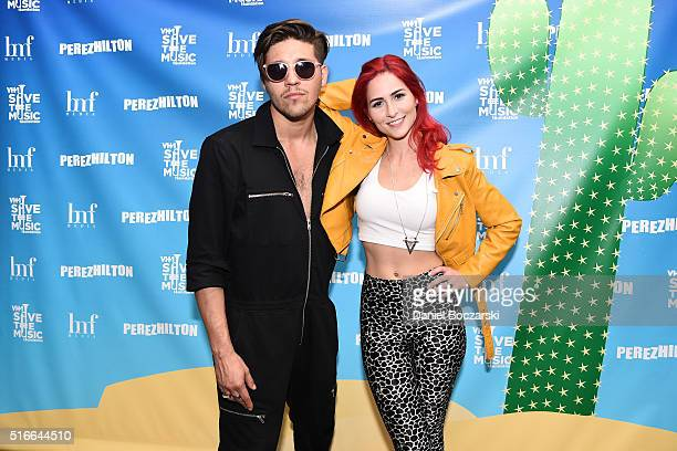 Mike Del Rio and Crista Ru of Powers attend Perez Hilton's One Night in Austin on March 19 2016 in Austin Texas