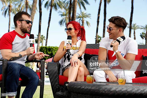 Mike Del Rio and Crista Ru of Powers attend the Coachella Republic Records Jaegermeister Party on April 16 2016 in Palm Springs California