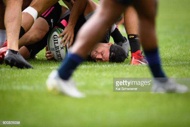 Mike Delany is tackled during a Crusaders Super Rugby training session at Rugby Park on February 19 2018 in Christchurch New Zealand