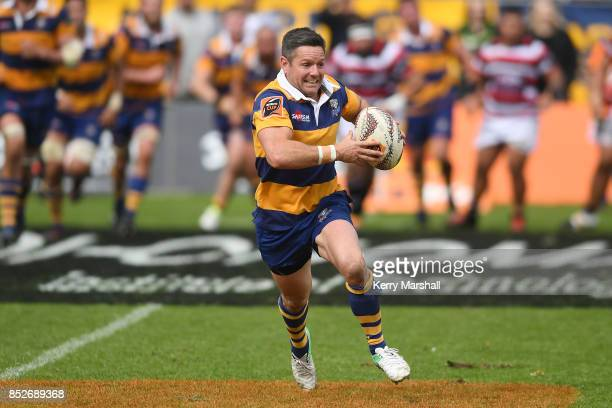 Mike Delany of Bay of Plenty runs with the ball during the round six Mitre 10 Cup match between Bay of Plenty and Counties Manukau Tauranga Domain on...