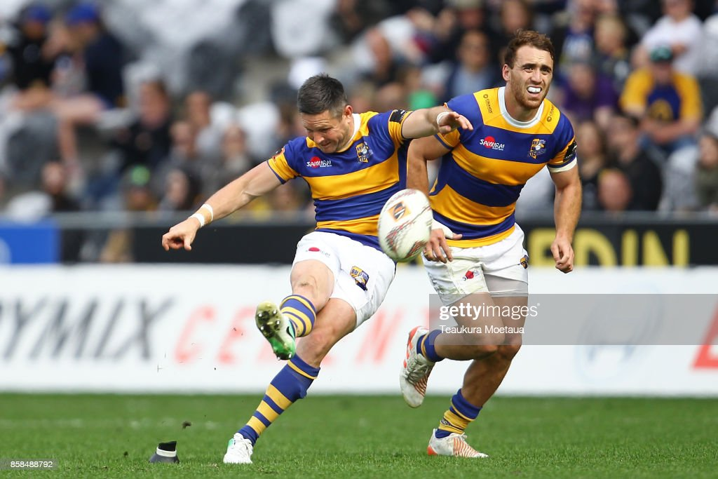 Mike Delany of Bay of Plenty takes a penalty kick during the round eight Mitre 10 cup match between Otago and Bay of Plenty at Forsyth Barr Stadium on October 7, 2017 in Dunedin, New Zealand.