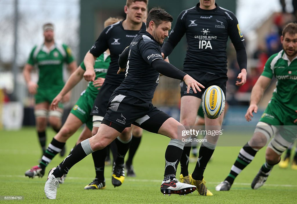 Mike Delany of Newcastle kicks the ball upfield during the Aviva Premiership match between Newcastle Falcons and London Irish at Kingston Park on April 17, 2016 in Newcastle upon Tyne, England.