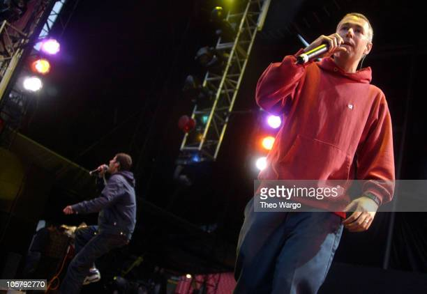 Mike Diamond and Adam Yauch of Beastie Boys during Field Day Music Festival 2003 - Show and Backstage at Giants Stadium in East Rutherford, New...