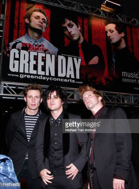 Mike Dirnt Billie Joe Armstrong and Tre Cool during Green Day Brings 'Bullet in a Bible' to the Big Screen November 15 2005 at The Arclight in...