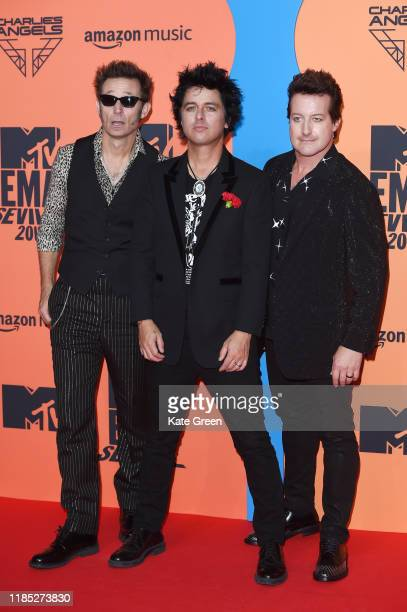 Mike Dirnt Billie Joe Armstrong and Tre Cool of Green Day attend the MTV EMAs 2019 at FIBES Conference and Exhibition Centre on November 03 2019 in...