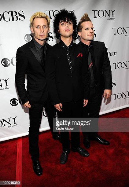 Mike Dirnt Billie Joe Armstrong and Tre Cool of Green Day attends the 64th Annual Tony Awards at Radio City Music Hall on June 13 2010 in New York...