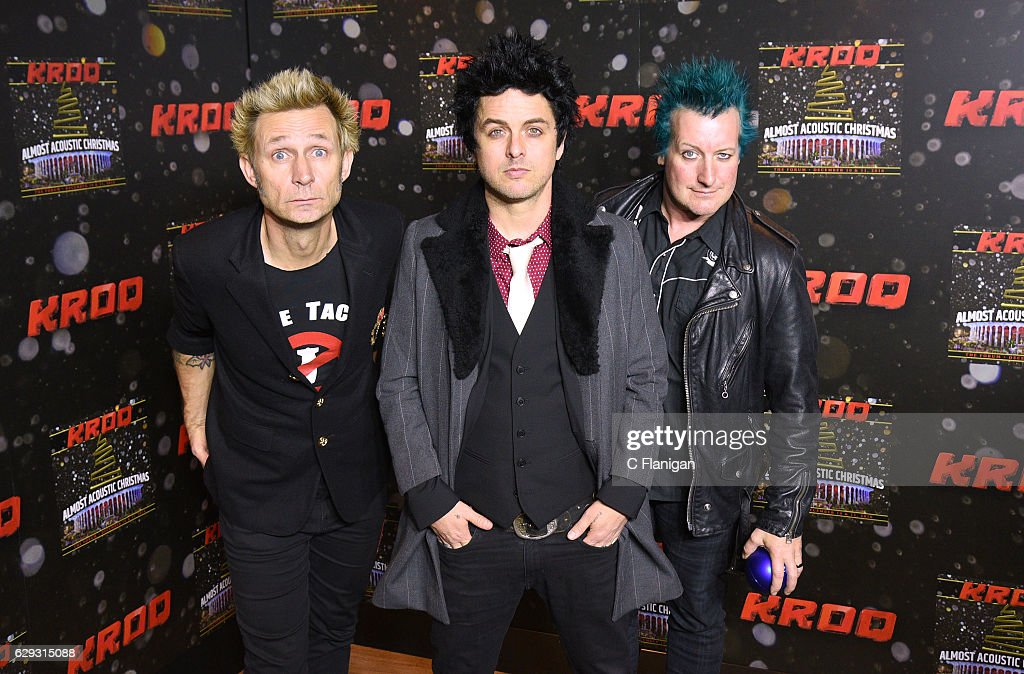 Mike Dirnt, Billie Joe Armstrong and Tre Cool of the band Green Day attend 106.7 KROQ Almost Acoustic Christmas 2016 - Night 2 at The Forum on December 11, 2016 in Inglewood, California.