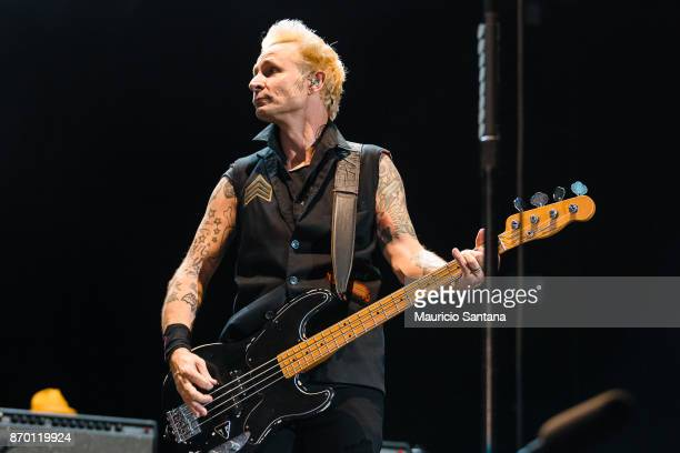 Mike Dirnt member of the band Green Day performs live on stage at Arena Anhembi on November 3 2017 in Sao Paulo Brazil