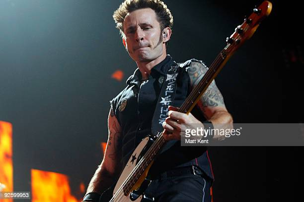 Mike Dirnt of Green Day performs at Wembley Arena on November 1 2009 in London England