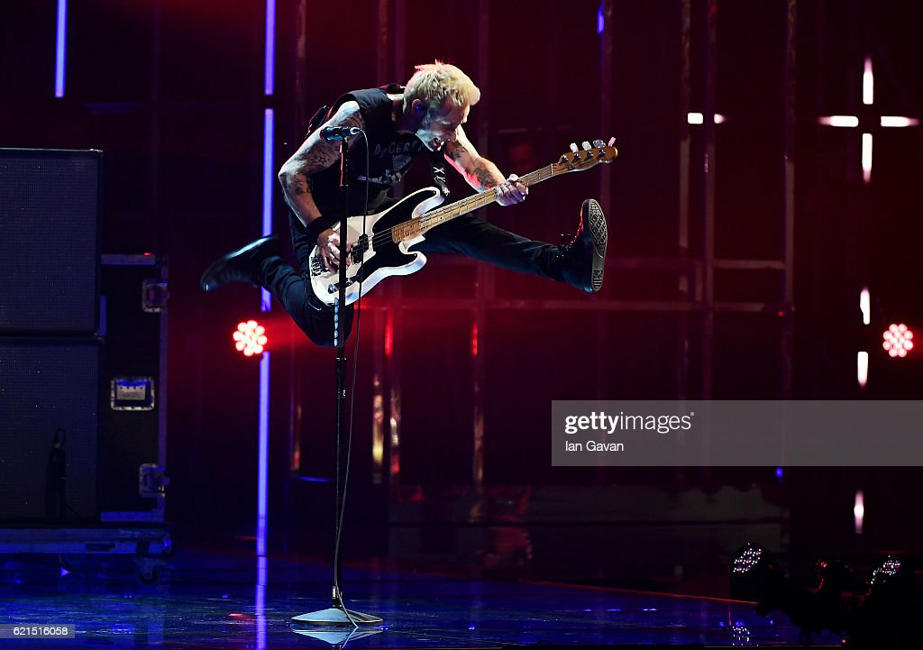 Mike Dirnt of Green Day performs on stage at the MTV Europe Music Awards 2016 on November 6, 2016 in Rotterdam, Netherlands.