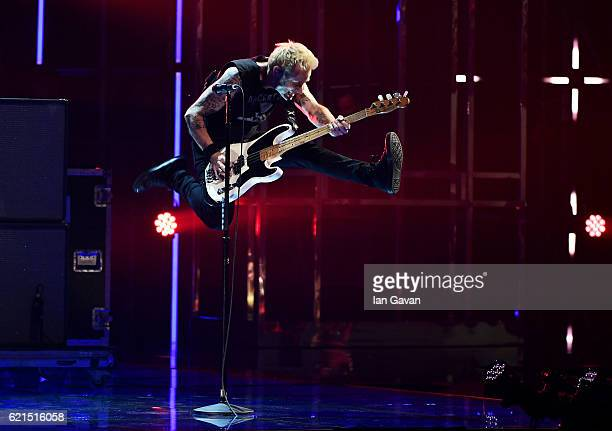 Mike Dirnt of Green Day performs on stage at the MTV Europe Music Awards 2016 on November 6 2016 in Rotterdam Netherlands
