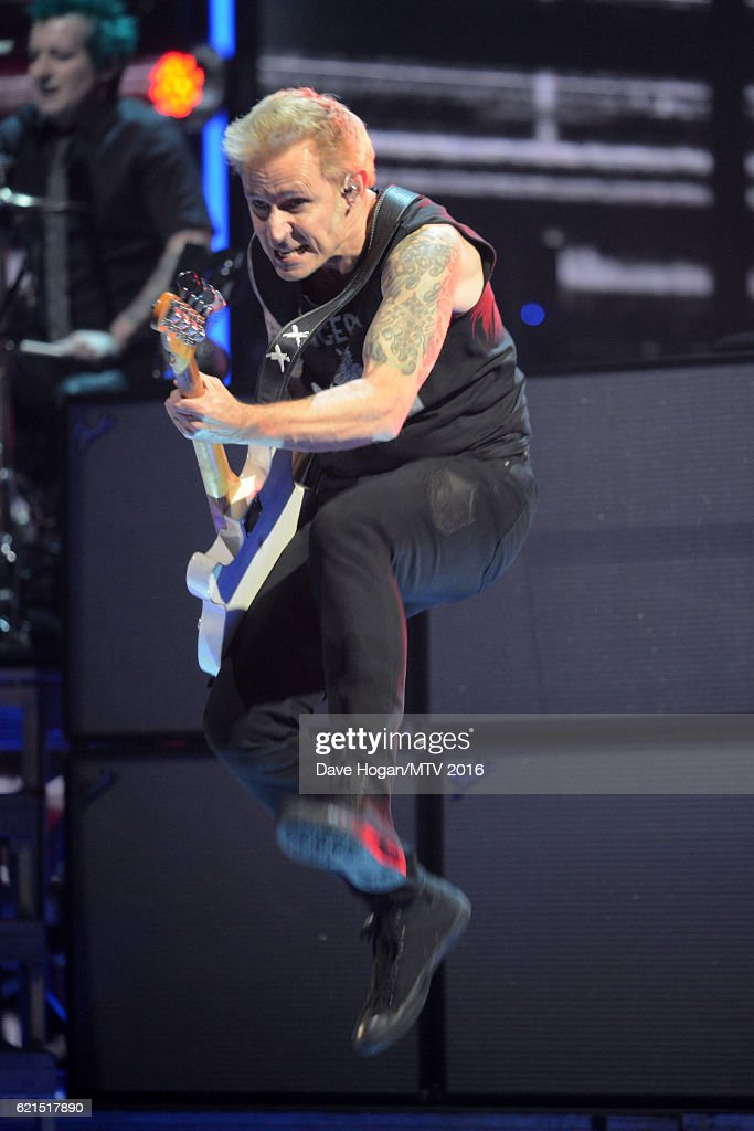 Mike Dirnt of Green Day performs on stage during the MTV Europe Music Awards 2016 on November 6, 2016 in Rotterdam, Netherlands.