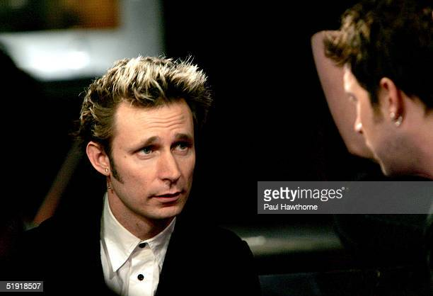 Mike Dirnt of Green Day talks with VJ Steven during Fuse's Daily Download at Fuse studios January 5 2005 in New York City