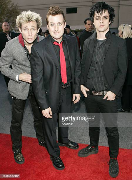 Mike Dirnt Tre Cool and Billie Joe Armstrong of Green Day