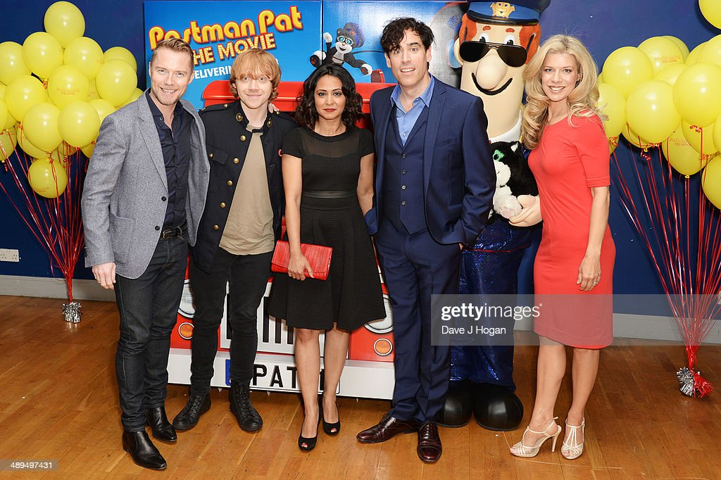 Mike Disa, Ronan Keating, Rupert Grint, PArminder Nagra and Stephen Mangan attend the UK premiere of 'Postman Pat' at the Odeon West End on May 11, 2014 in London, England.