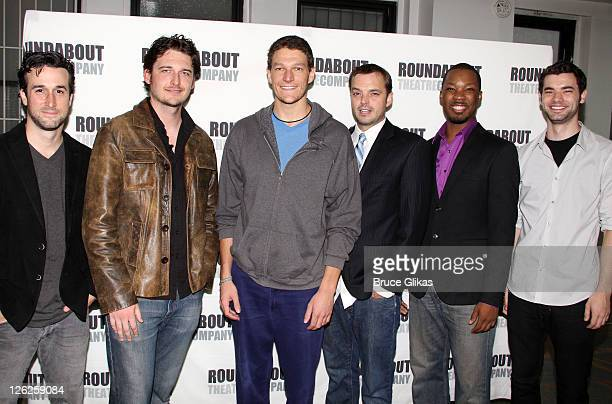 Mike DiSalvo Toby Leonard Moore Gabriel Ebert James McMenamin Corey Hawkins and Jake O'Connor attend the Suicide Incorporated Cast Photocall at the...