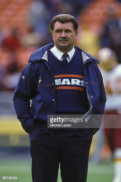 Mike Ditka, head coach of the Chicago Bears, before a NFL football game against the Washington Redskins on November 13, 1988 at RFK Stadium in...
