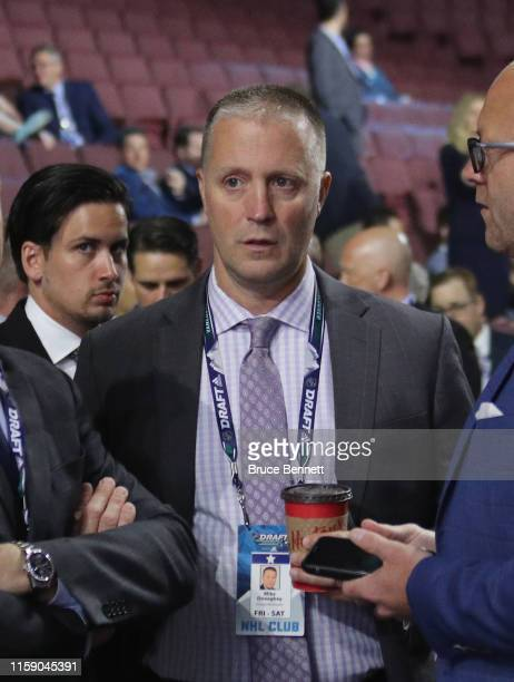 Mike Doneghey of the Chicago Blackhawks attends the 2019 NHL Draft at the Rogers Arena on June 22 2019 in Vancouver Canada