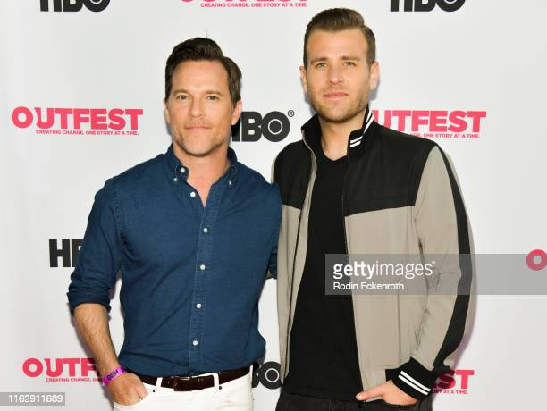 Mike Doyle and Scott Evans attend the Outfest Los Angeles LGBTQ Film Festival Opening Night Gala premiere of Circus Of Books at Orpheum Theatre on...
