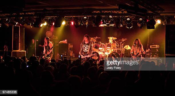 Mike Duda Blackie Lawless Mike Dupke and Doug Blair of WASP perform in front of a sold out crowd at the Alrosa Villa on March 5 2010 in Columbus Ohio