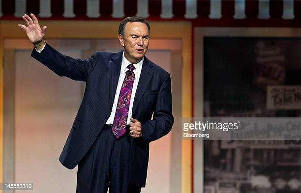 Mike Duke chief executive officer of WalMart Stores Inc speaks at the company's annual shareholders meeting in Fayetteville Arkansas US on Friday...