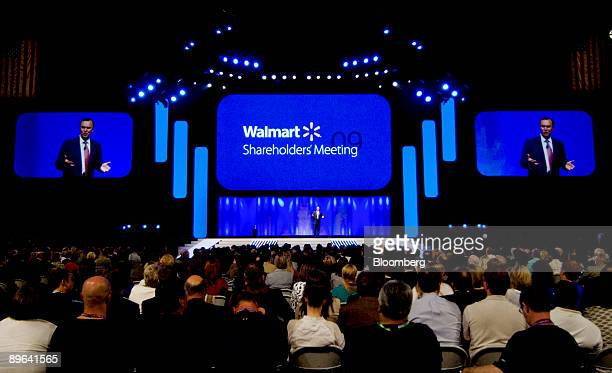 Mike Duke president and chief executive officer of WalMart Stores Inc speaks during the annual WalMart shareholders meeting in Fayetteville Arkansas...