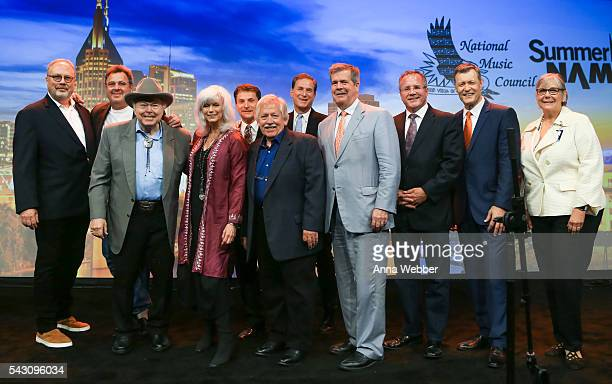 Mike Dungan Vince Gill Roy Clark Emmylou Harris John Conlee Joe Lamond Karl Dean Pete Fisher and Bill Cody attend the 33rd Annual American Eagle...