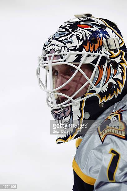 Mike Dunham of the Nashville Predators looks on during warmups before the game against the Nashville Predators on November 21, 2002 at the Pepsi...