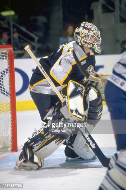 Mike Dunham of the Nashville Predators skates against the Toronto Maple Leafs during NHL game action on October 11, 1999 at Air Canada Centre in...