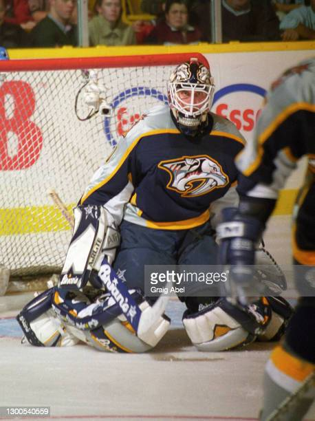 Mike Dunham of the Nashville Predators skates against the Toronto Maple Leafs during NHL game action on October 19, 1998 at Maple Leaf Gardens in...