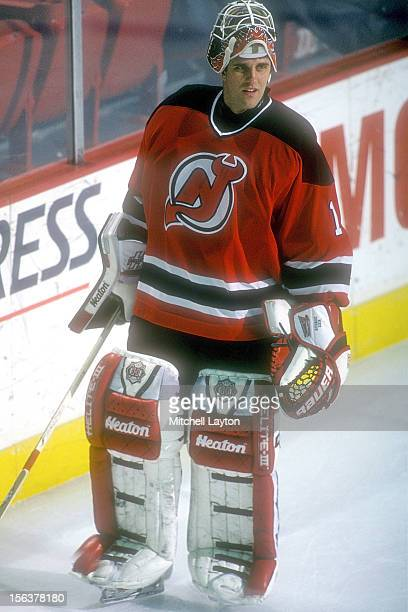 Mike Dunham of the New Jersey Devils skates before a hockey game against the Washington Capitals on April 1, 1997 at USAir Arena in Landover,...