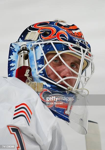 Mike Dunham of the New York Islanders looks on against the Philadelphia Flyers on April 7, 2007 at Wachovia Center in Philadelphia, Pennsylvania. The...