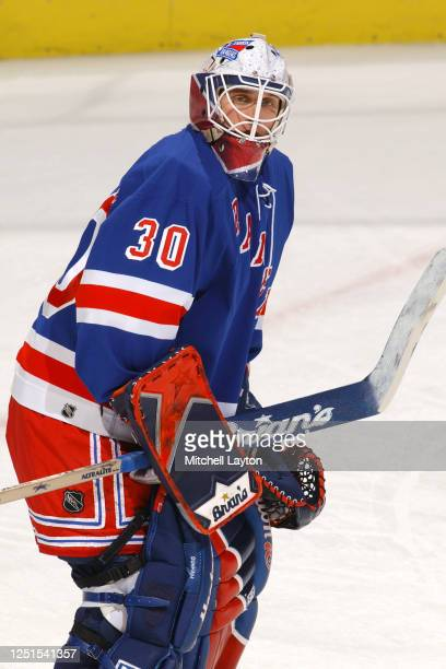 Mike Dunham of the New York Rangers looks on before a NHL hockey game against the Washington Capitals at MCI Center on January 15, 2003 in...