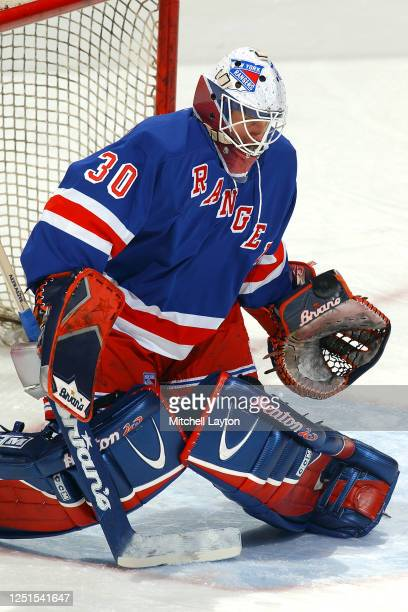 Mike Dunham of the New York Rangers warms up before a NHL hockey game against the Washington Capitals at MCI Center on January 15, 2003 in...