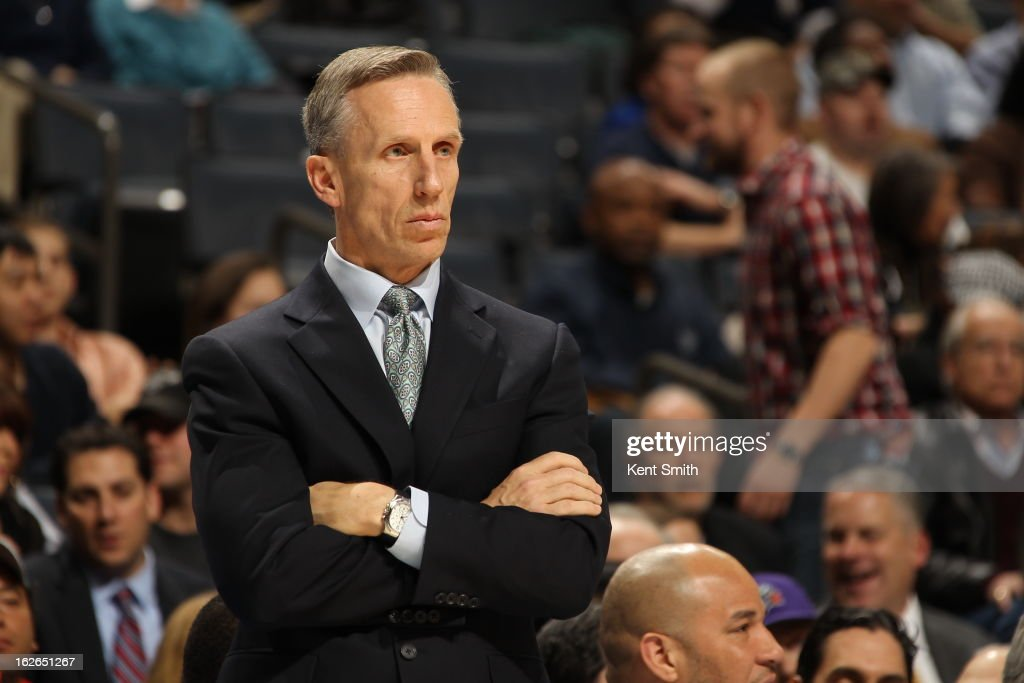 Mike Dunlap of the Charlotte Bobcats stands on the sideline during the game against the Atlanta Hawks at the Time Warner Cable Arena on January 23, 2013 in Charlotte, North Carolina.