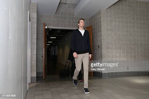 Mike Dunleavy of the Chicago Bulls arrives before the game against the Milwaukee Bucks in Game Six of the Eastern Conference Quarterfinals of the...