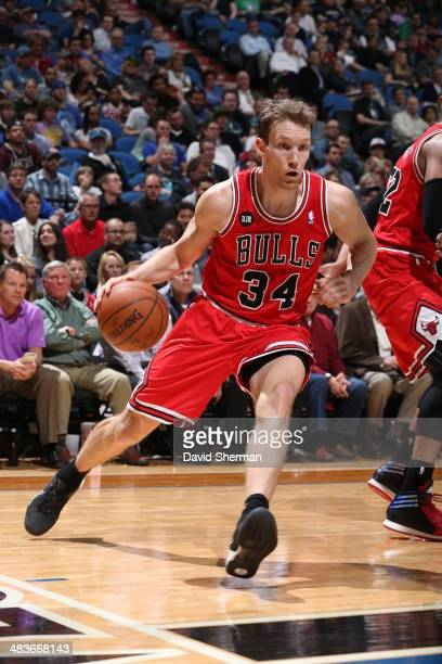 Mike Dunleavy of the Chicago Bulls drives baseline against the Minnesota Timberwolves during the game on April 9 2014 at Target Center in Minneapolis...