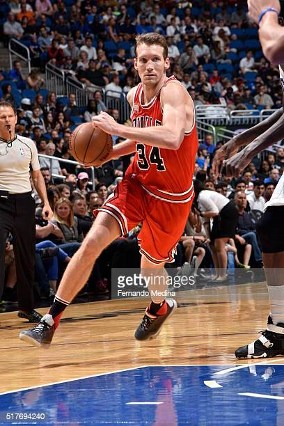 Mike Dunleavy of the Chicago Bulls drives to the basket against the Orlando Magic on March 26 2016 at Amway Center in Orlando Florida NOTE TO USER...