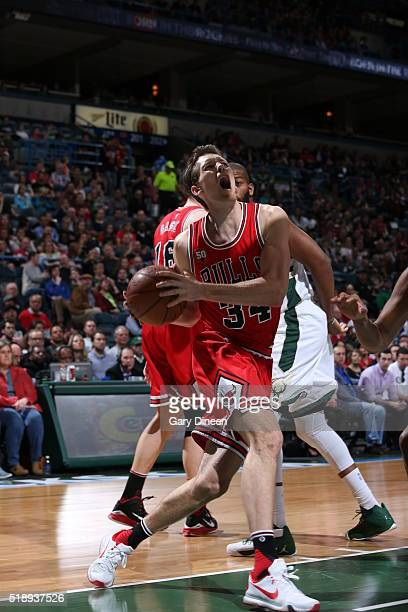 Mike Dunleavy of the Chicago Bulls drives to the basket against the Milwaukee Bucks on April 3 2016 at the BMO Harris Bradley Center in Milwaukee...