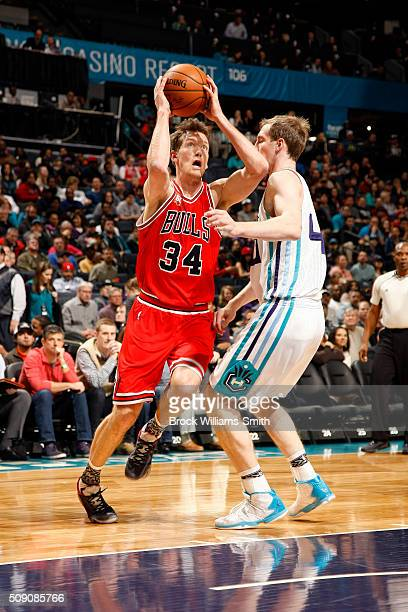 Mike Dunleavy of the Chicago Bulls drives to the basket during the game against the Charlotte Hornets on February 8 2016 at Time Warner Cable Arena...